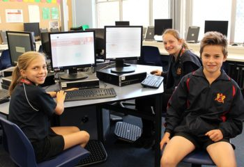 Manjimup Senior High School Year 7 students Jorja Forsman, Gemma Mitchell and Michael Kilrain will sit their NAPLAN tests online from next week. Picture: Shannon Bochenek / Manjimup-Bridgetown Times