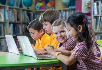 Subiaco Primary School Year 3s Jake Carlson, left, Henry Grebe, Annabel Rembalski and Samantha Yang, all eight years old. Picture: Ross Swanborough.